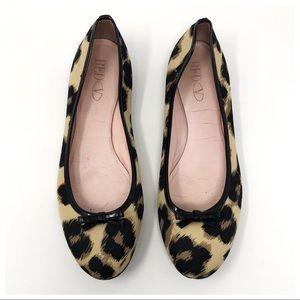 RED Valentino Nylon Leopard Print Bow Ballet Flats